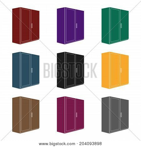 A small wardrobe with a clean mirror.Bedroom furniture single icon in black style vector symbol stock  illustration.