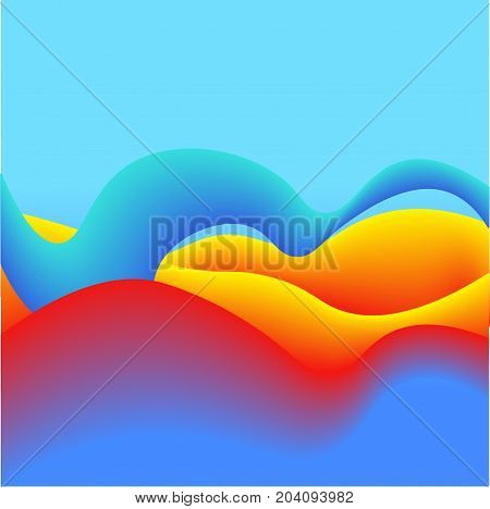 Fluid Colors with Red Yellow Violet Gradient Abstract Background. Perfect for Cover, Print and Poster Design.