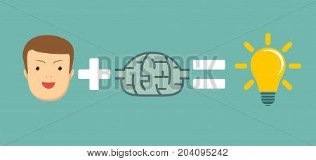 good brains are good ideas. Big idea concept with man and lightbulb. Symbol of having an idea with businessman. concept of ready-made ideas