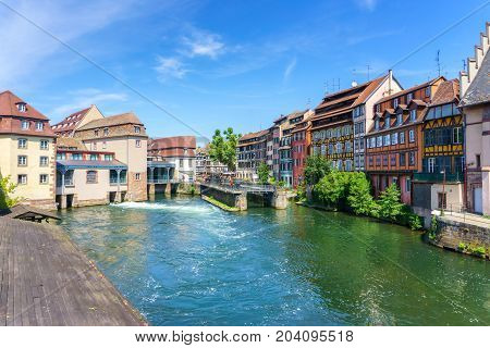 Traditional colorful houses in La Petite France Strasbourg Alsace France