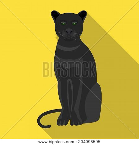 Panther, predatory animal. Pantera, wild cat single icon in flat style vector symbol stock illustration .