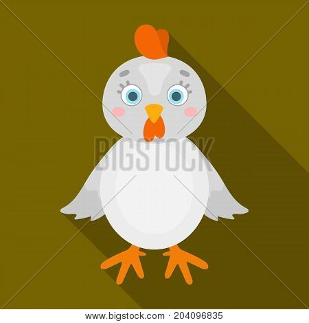Chicken single icon in flat style.Chicken, vector symbol stock illustration .