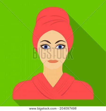 Girl, single icon in flat style.Girl vector symbol stock illustration .