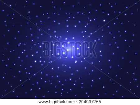 Space texture. Shiny stars in dark blue night sky. Rectangular background. Vector illustration.