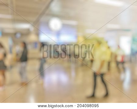 Blurred Image Of Business People Walking At Subway Station In Rush Hour, Abstract Blur