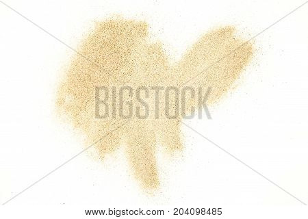 Sand stains isolated on white background. Dry sand texture.