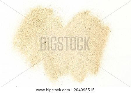 Sand stains isolated on white background. Dry sand. Sand texture.