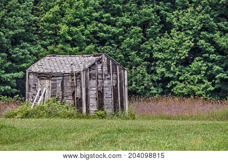 Neglected and abandoned cabin with a ladder in a rural area