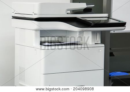 close up multi function office printer for printing and scanning documents