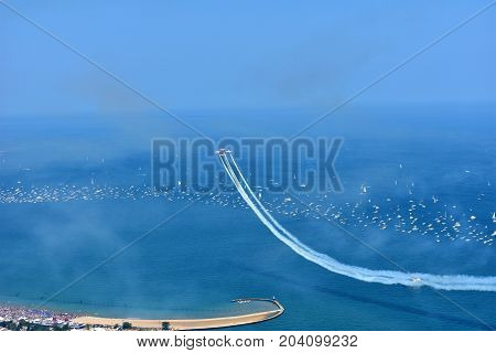Chicago, Illinois - Usa - August 19, 2017: Air Show Chicago