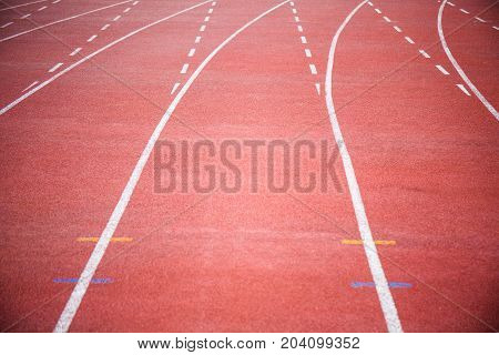 a red line curve of running track.