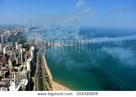 Chicago, Illinois - Usa - August 19, 2017: Chicago Skyline And Air And Water Show
