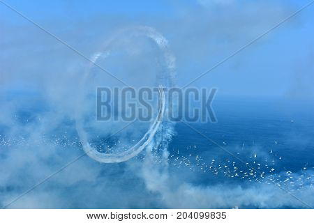 Chicago, Illinois - Usa - August 19, 2017: Chicago Air Show On Lake Michigan