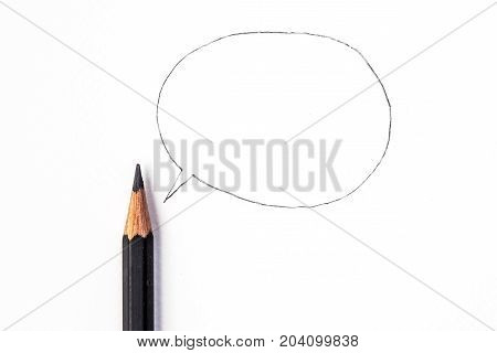 a  black Pencil with a speech bubble