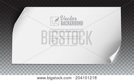 Vector curved paper banner on colored background. White blank paper curved horizontal banner, isolated on trasparent. Realistic vector paper template with curl corners, 3D illustration.