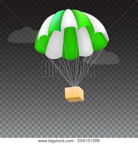 Icon of package flying on green parachute, isolated on transparent background. Air shipping, delivery service template, 3D illustration.