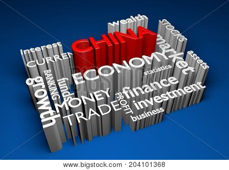 China economy and trade investments for GDP growth, 3D rendering