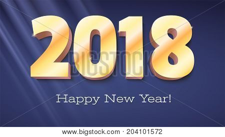 Happy New Year banner. Volumetric numbers 2018 from gold. Congratulation poster with rays of light on background. Greeting card, poster, brochure or flyer template. Vector 3D illustration