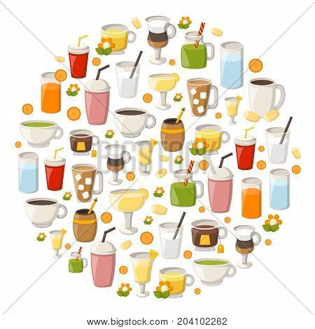 Vector Cartoon Non Alcoholic Drinks Background