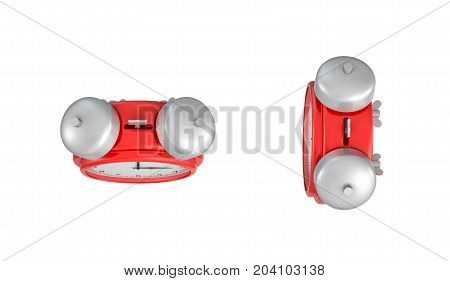 3d rendering of a red vintage alarm clock with double metal bells in top view on white background. Keeping with time. Schedule. Daily tasks.
