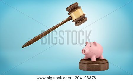 3d rendering of a large judge gavel ready to strike at a small piggy bank standing on a sound block. Business law. Legal prosecution. Money collection.