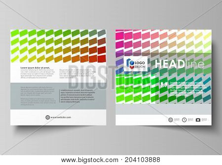 Business templates for square design brochure, magazine, flyer, booklet or annual report. Leaflet cover, abstract flat layout, easy editable vector. Colorful rectangles, moving dynamic shapes forming abstract polygonal style background.