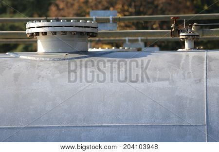 Tank To Contain Methane Gas In An Industrial Aerial