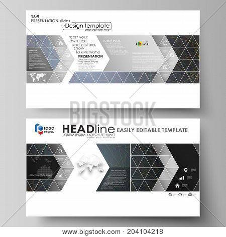 Business templates in HD format for presentation slides. Easy editable abstract vector layouts in flat design. Colorful dark background with abstract lines. Bright color chaotic, random, messy curves. Colourful vector decoration.