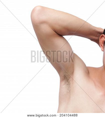 Closeup of man armpit and hair on white background healthcare and beauty concept
