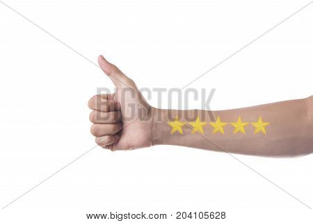 Business hand thumb up with yellow marker on five star rating. concept customer service excellent.