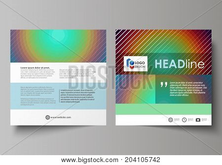 Business templates for square design brochure, magazine, flyer, booklet or annual report. Leaflet cover, abstract flat layout, easy editable vector. Minimalistic design with circles, diagonal lines. Geometric shapes forming beautiful retro background.
