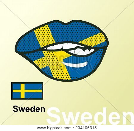 Vector illustration of lip painted Sweden flag isolated foreign language national symbols