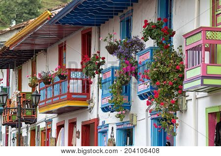 February 20 2017 Salento Colombia: the painted buildings of the coffee town are one of the main attraction for the tourists