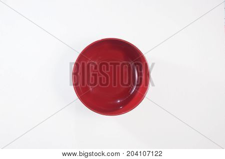 Red bowl image top view clean background