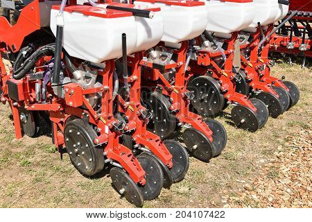 Crop sprayer machinery outdoor in summer time
