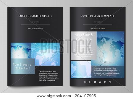 The black colored vector illustration of the editable layout of A4 format covers design templates for brochure, magazine, flyer, booklet. World map on blue, geometric technology design, polygonal texture.