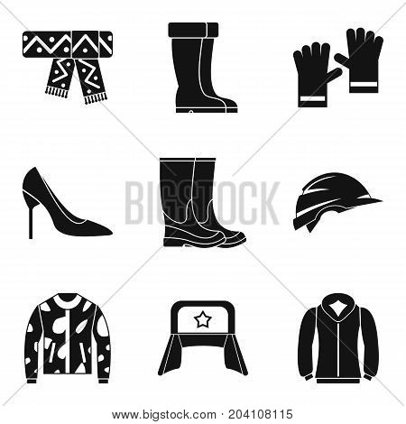 Russian clothing icon set. Simple set of 9 russian clothing vector icons for web design isolated on white background