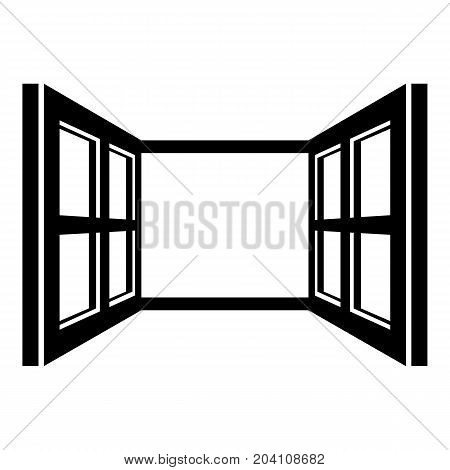 Open window frame icon. Simple illustration of open window frame vector icon for web