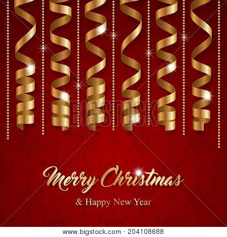 Christmas greeting card with golden serpentine ribbons. Vector Illustration