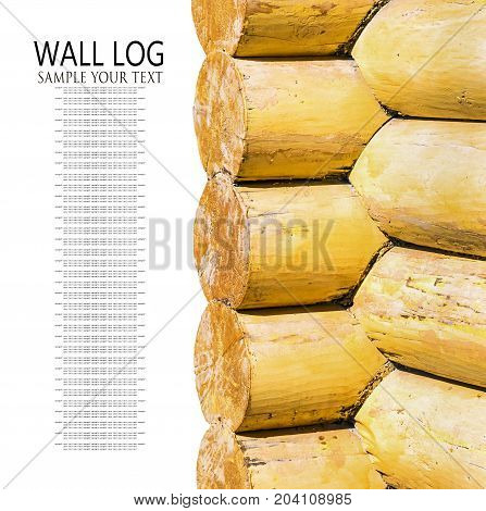 yellow painted wall log houses with wooden logs isolated on white background. Text delete