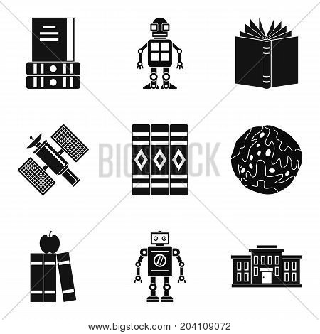 Textbook on astronomy icons set. Simple set of 9 textbook on astronomy vector icons for web isolated on white background