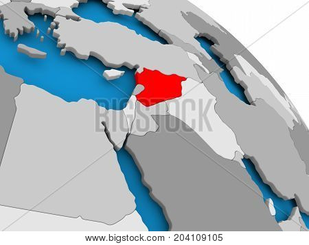 Syria In Red On Map