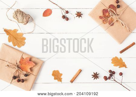 Autumn composition. Gift autumn leaves cinnamon sticks anise star on wooden white background. Flat lay top view copy space