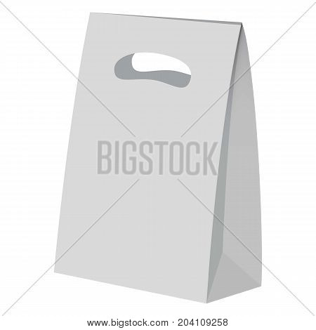Hand bread paper bag mockup. Realistic illustration of hand bread paper bag vector mockup for web design isolated on white background