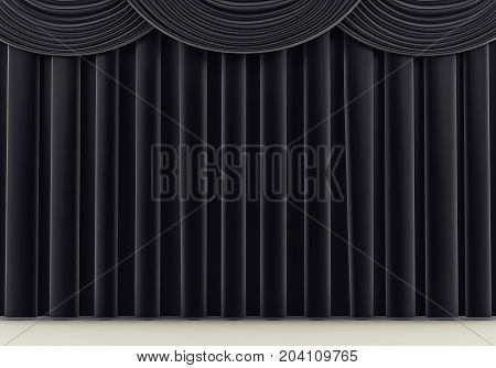 Beautiful black stage curtain. 3 d rendering