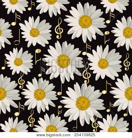 Seamless pattern with gold music notes and daisies on black background.