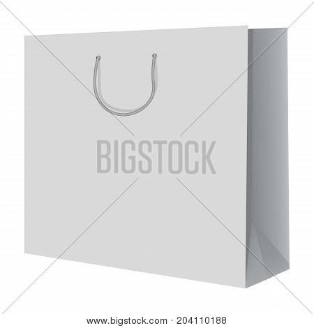 Wide paper hand bag mockup. Realistic illustration of wide paper hand bag vector mockup for web design isolated on white background