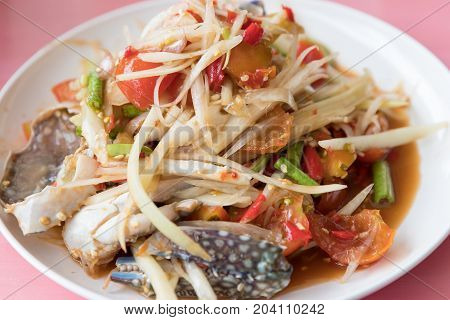 Closeup Thai Local Street Food Spicy Papaya Salad Or Som Tam.