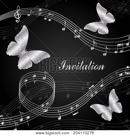 Musical design elements with treble clef, notes and butterflies. Vector Illustration on black background.