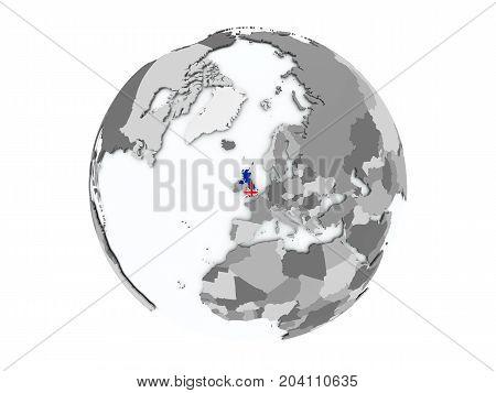 United Kingdom On Globe Isolated
